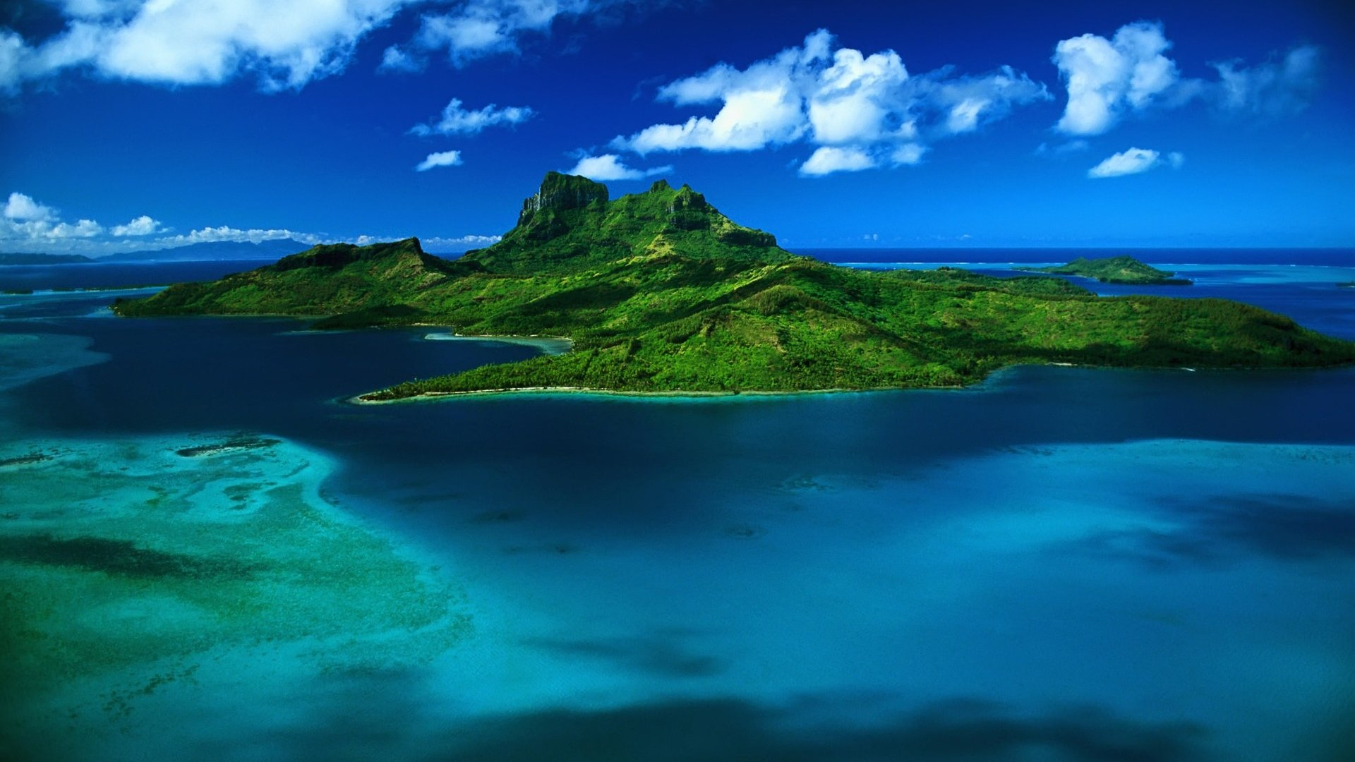Download Wallpaper 1920x1080 island greens ocean water tropics 1920x1080