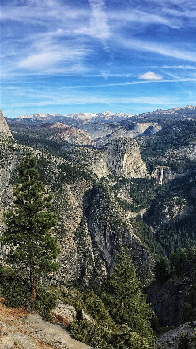 Summer Mountain Yosemite Nature Cloud Sky iPhone 8 Wallpapers 640x1137