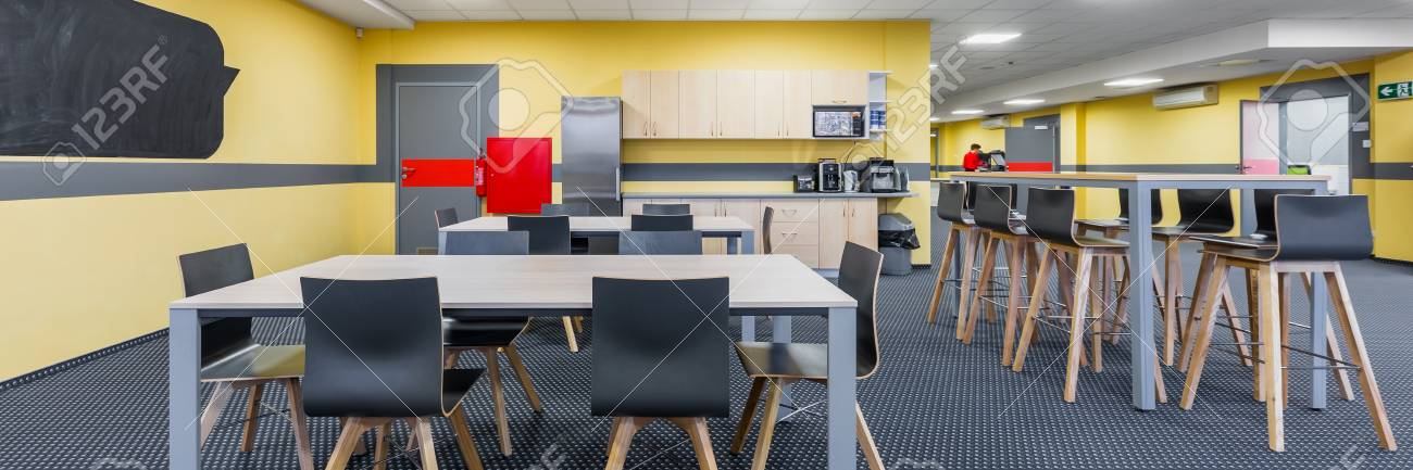Panorama Of Modern Lunchroom Interior With Wooden Tables And 1300x433