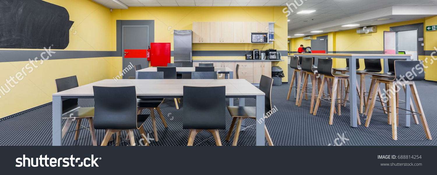 Panorama Modern Lunchroom Interior Wooden Tables Royalty 1500x600