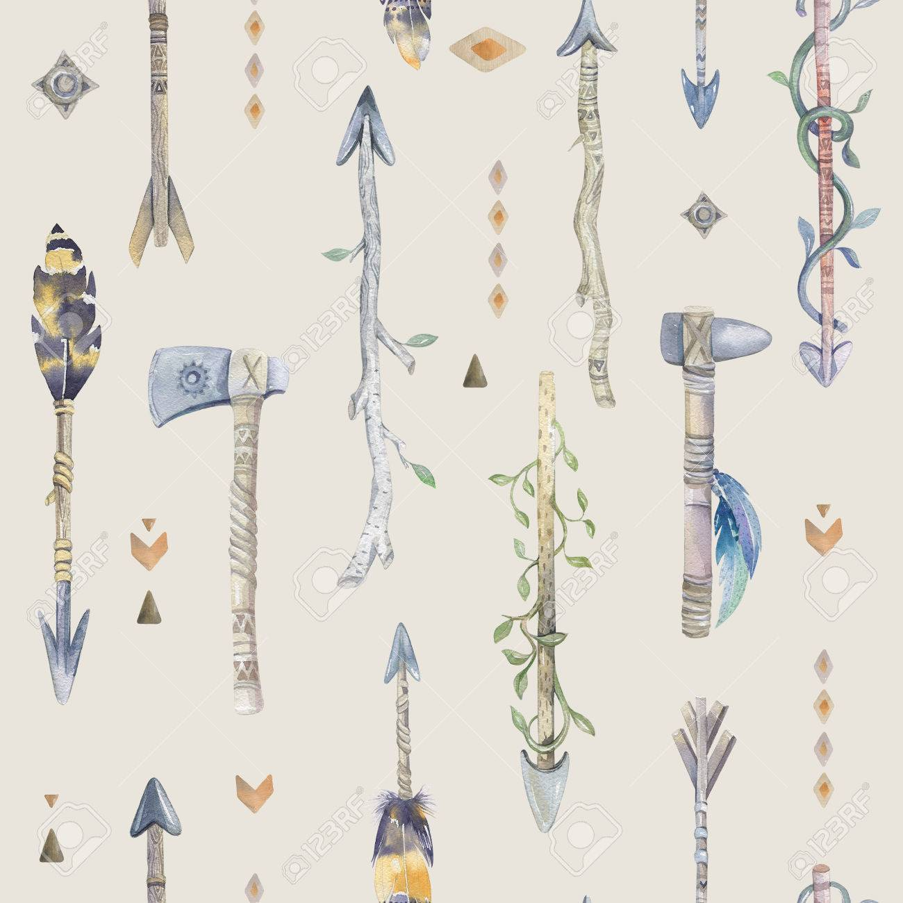 Watercolor Boho Seamless Pattern With Arrows Decoration Native 1300x1300