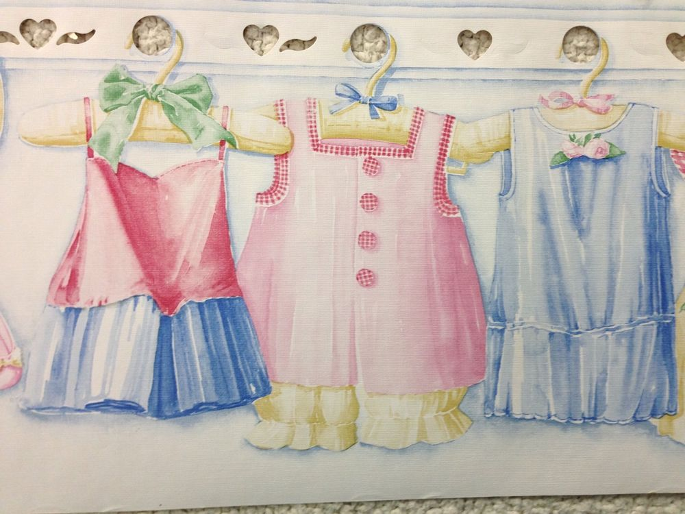 Baby Girl Nursery Dress Up Wallpaper Border eBay 1000x750