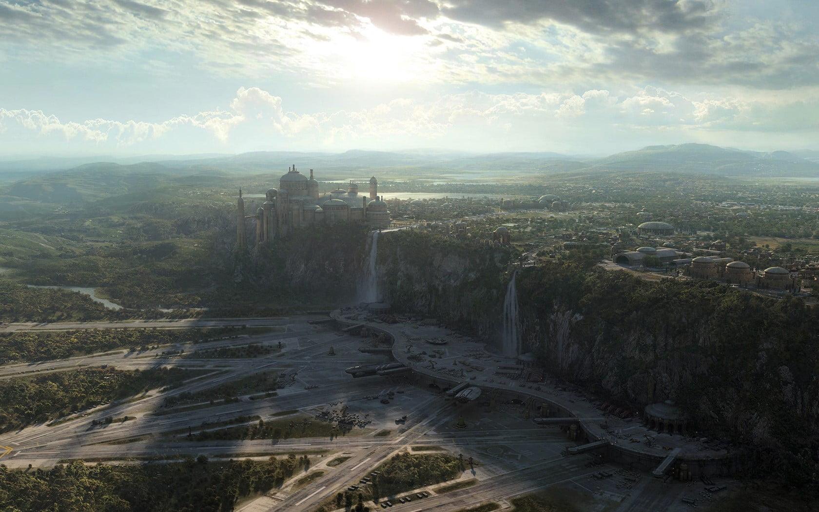 White gothic castle Star Wars landscape photo manipulation 1680x1050