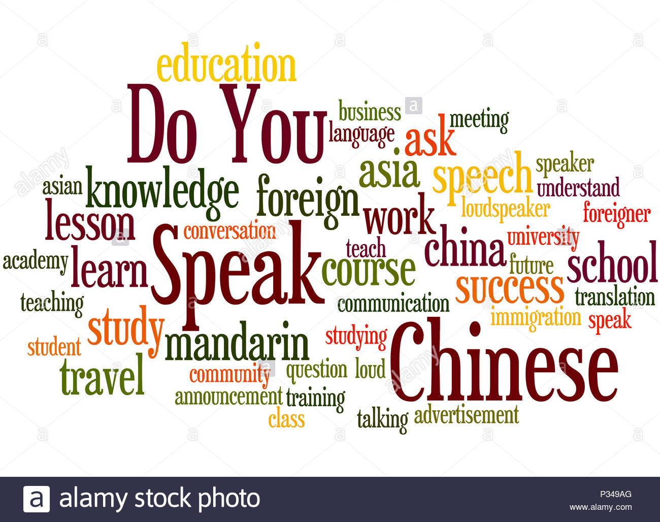 Do You Speak Chinese word cloud concept on white background Stock 1300x1028