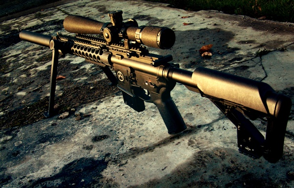 Wallpaper sniper rifle weapon sunset wallpapers weapon   download 596x380