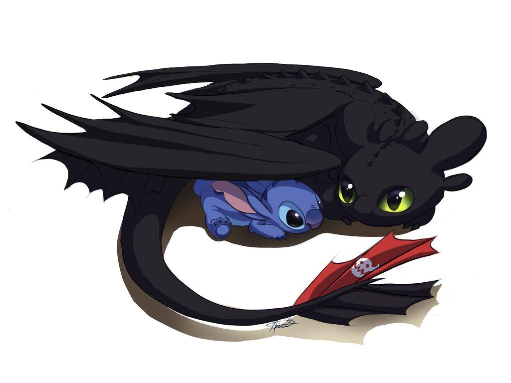 Toothless and Stitch by Kuvari 1024x768