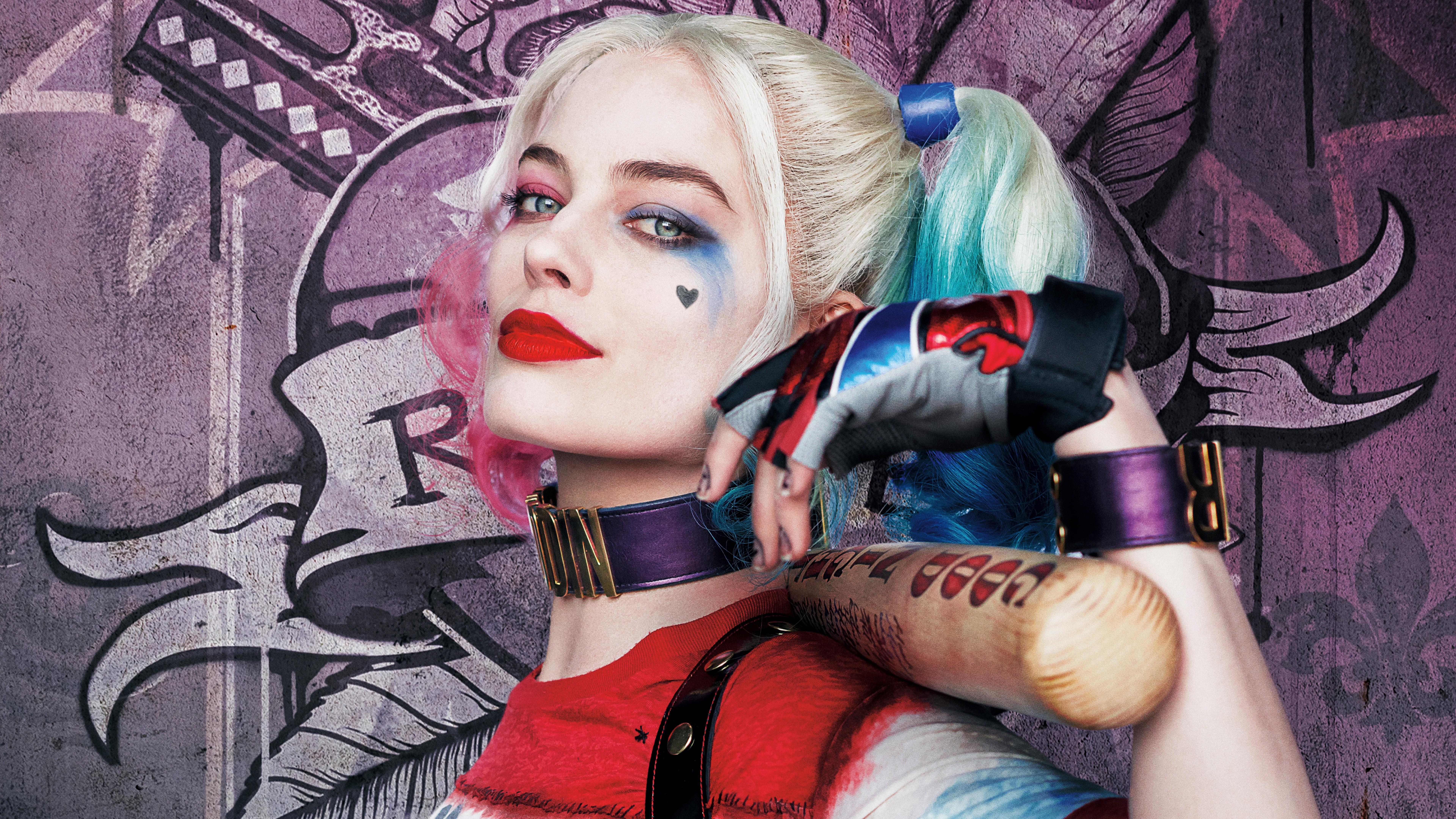 Margot Robbie as Harley Quinn 8k Ultra HD Wallpaper Background 7680x4320