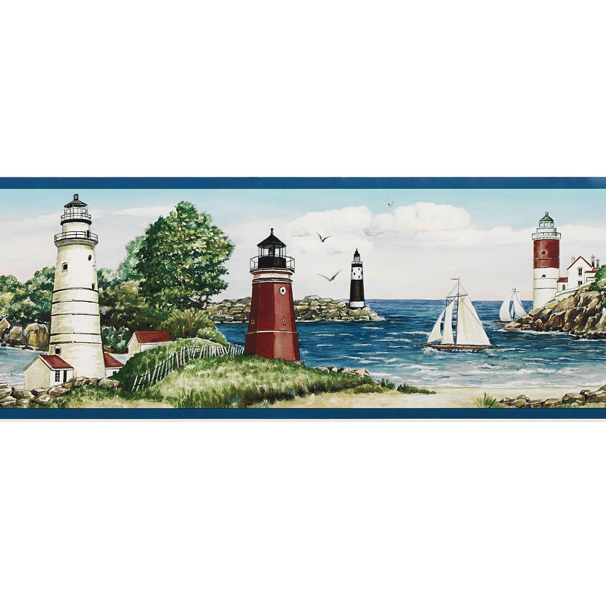 Home Lighthouse Sailboat Wallpaper Border Multi Warm 2000x2000