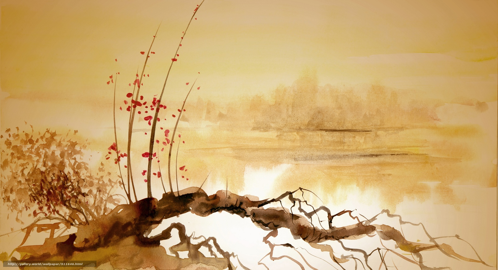 wallpaper snag river Chinese painting desktop wallpaper 1600x868