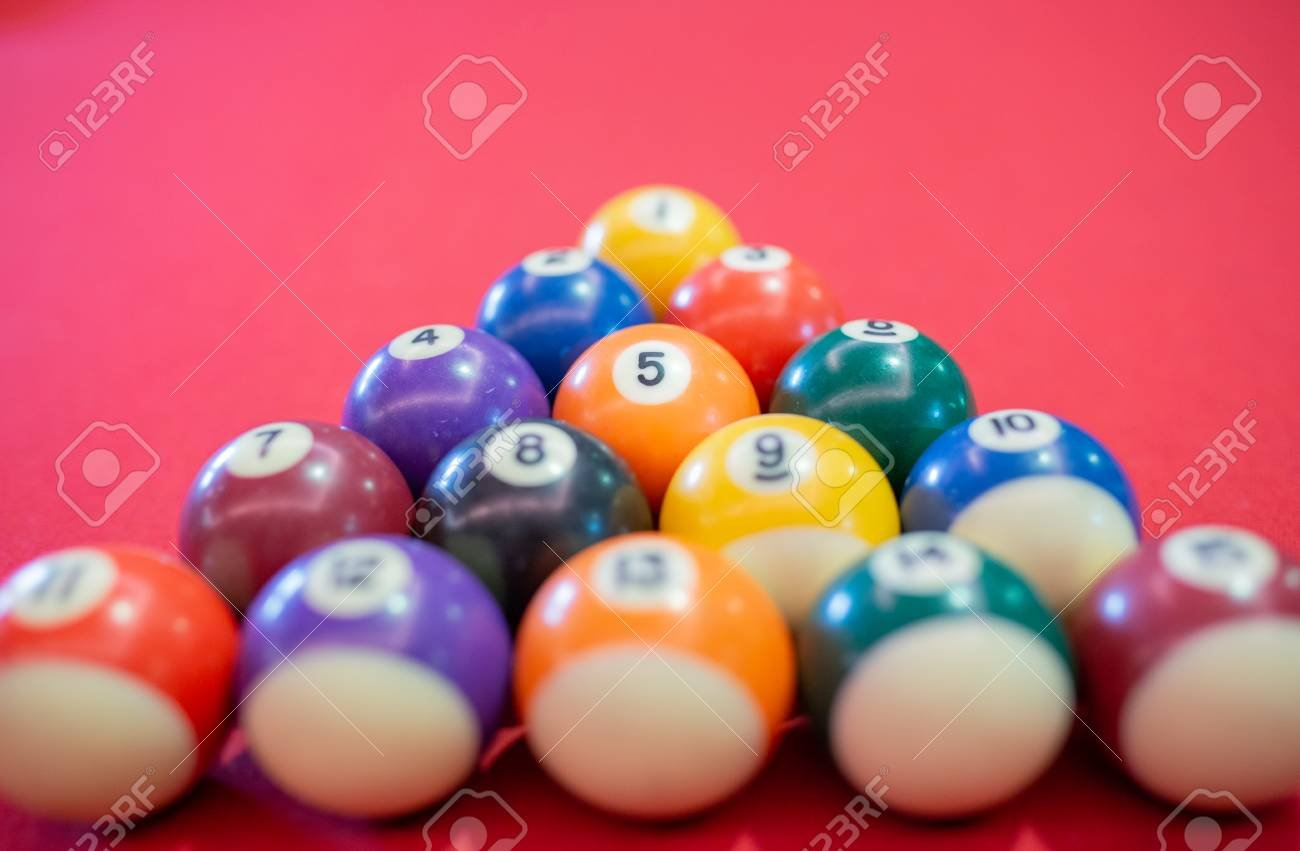 Billiard Ball On Red Table Background In Pub Bar Room Concept 1300x851