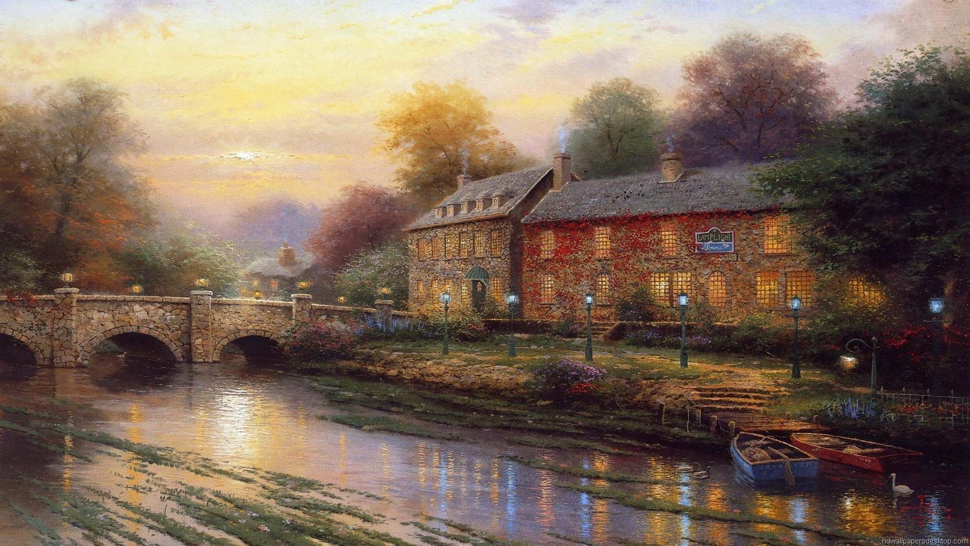 Thomas Kinkade Art Bridge Christmas Holiday Painting Picture 1920x1080
