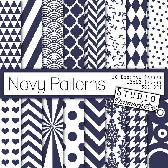 Navy Patterns Digital Paper Navy Blue Patterned Backgrounds 570x570