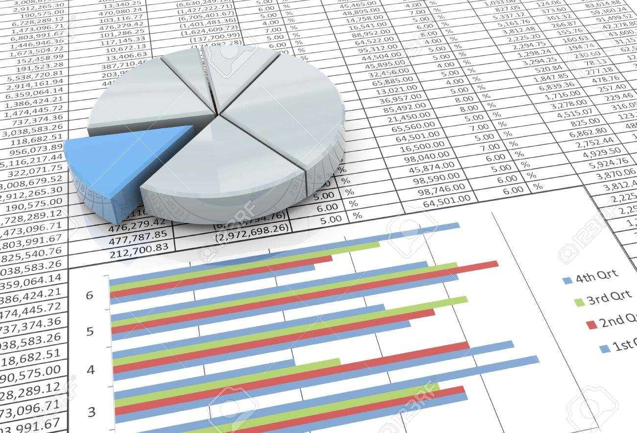3d Reflective Pie Chart On The Background Of Spreadsheet Stock 1300x884