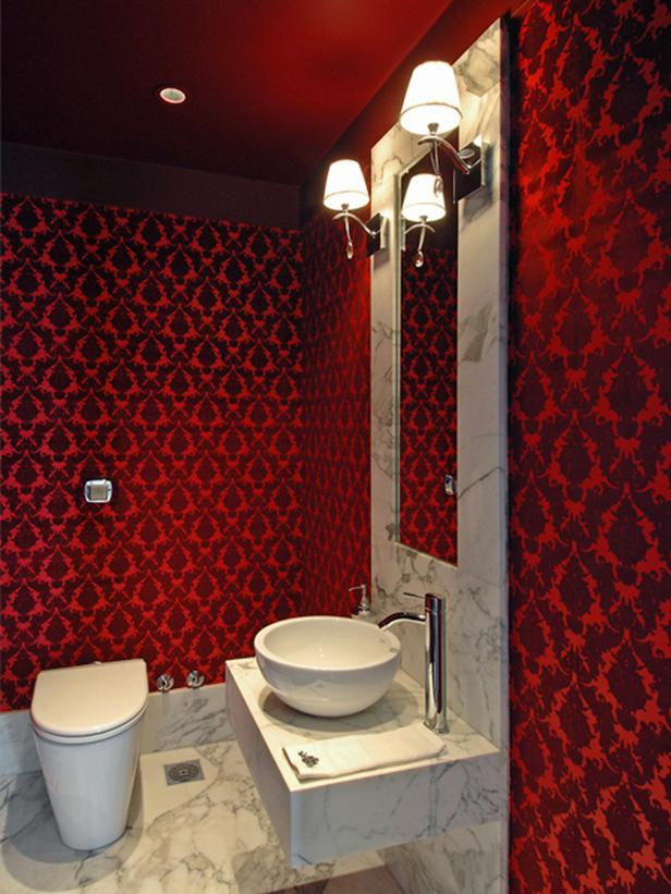 Contemporary Powder Room With Red Damask Wallpaper Vessel Sink 616x821