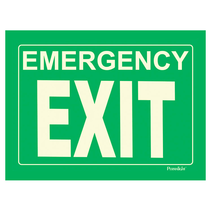Rigid Emergency EXIT Sign green background 14 in x 10 in 800x800