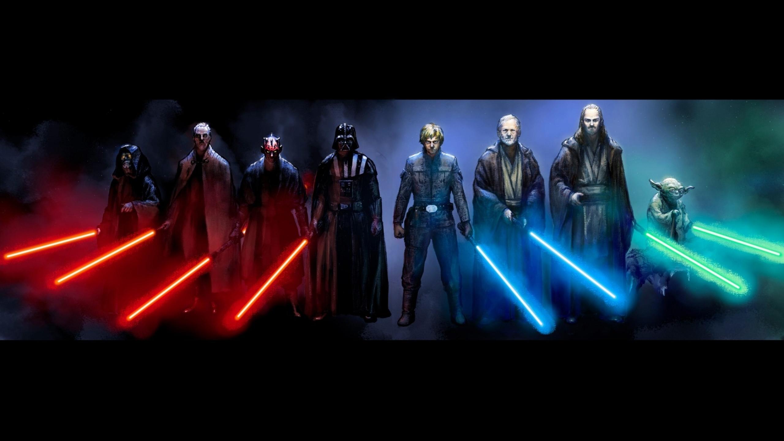 sith jedi luke skywalker light sabers 1920x1080 wallpaper Wallpaper HD 2560x1440