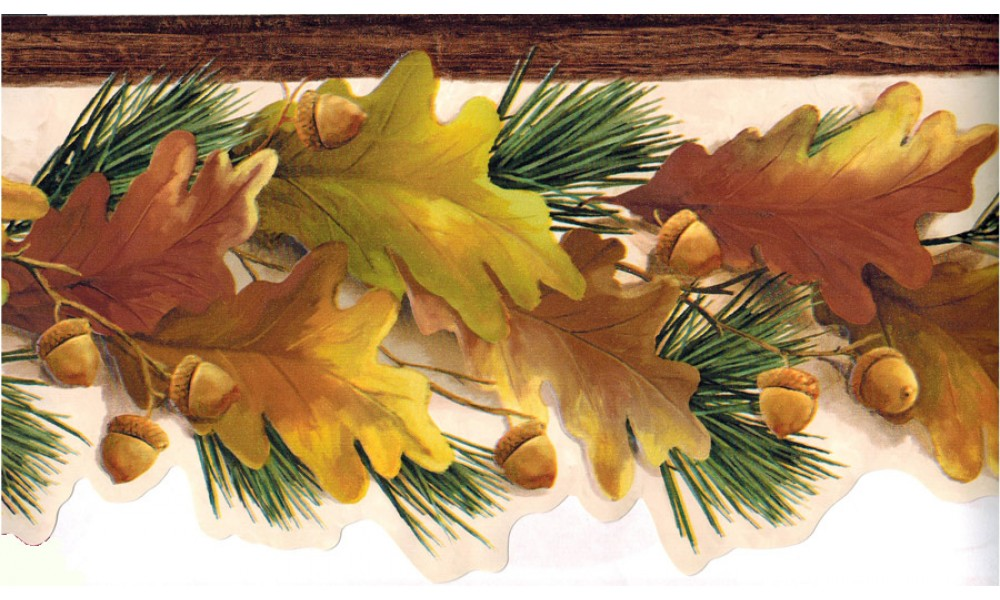 Home Yellow Nut Green Leaves Wallpaper Border 1000x600