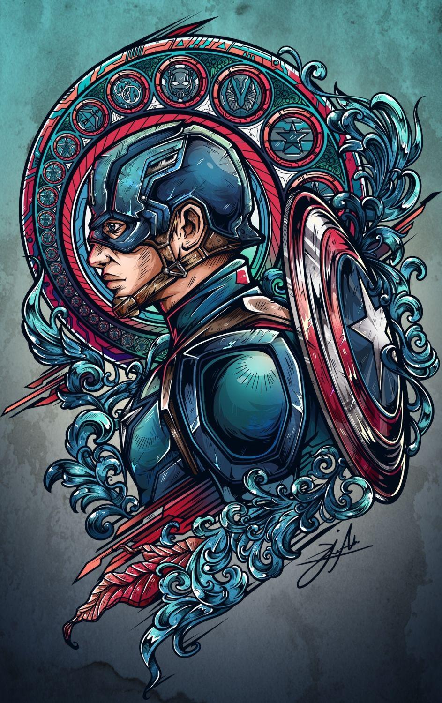 team iron vs team cap project on Behance Tattoo ideas Arte de 943x1500