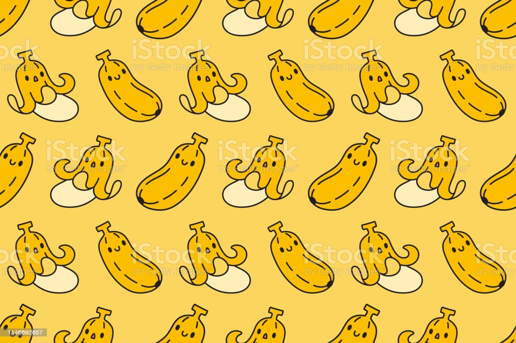 Cute Banana Seamless Pattern On Yellow Background Vector Stock 1024x682