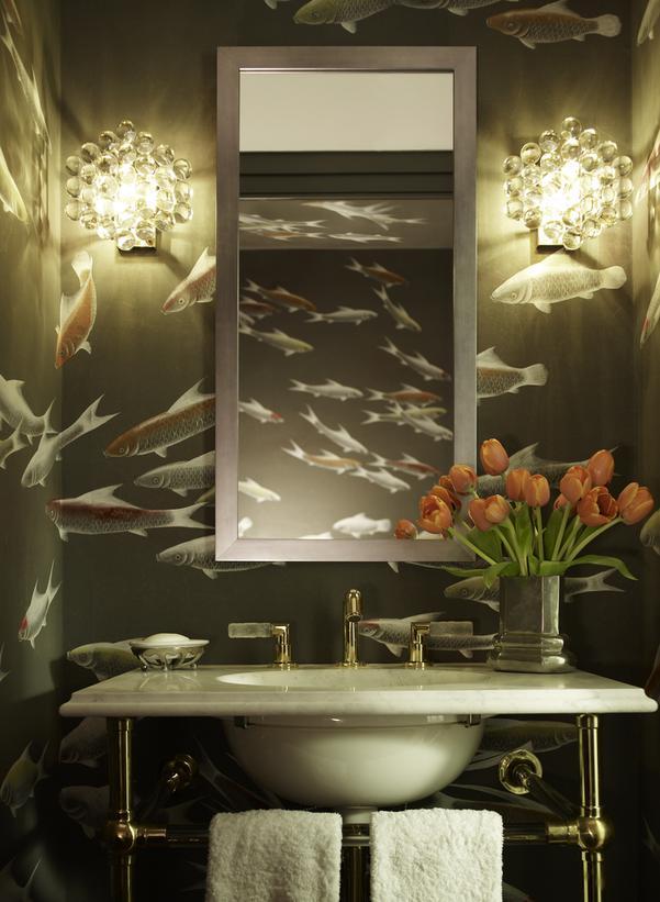 Powder Room With Fish Wallpaper HGTV 601x821