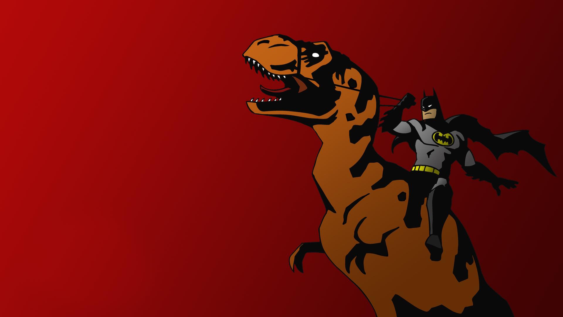 Download Batman riding T Rex wallpaper 1920x1080