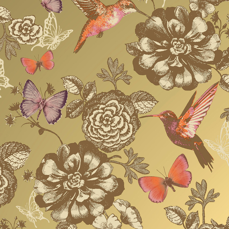Coloroll Utopia Bird and Butterfly Wallpaper in Gold Effect - M1042