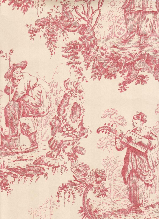 Chinese Toile Wallpaper Chinese scenic toile de jouy wallpaper in red 534x734