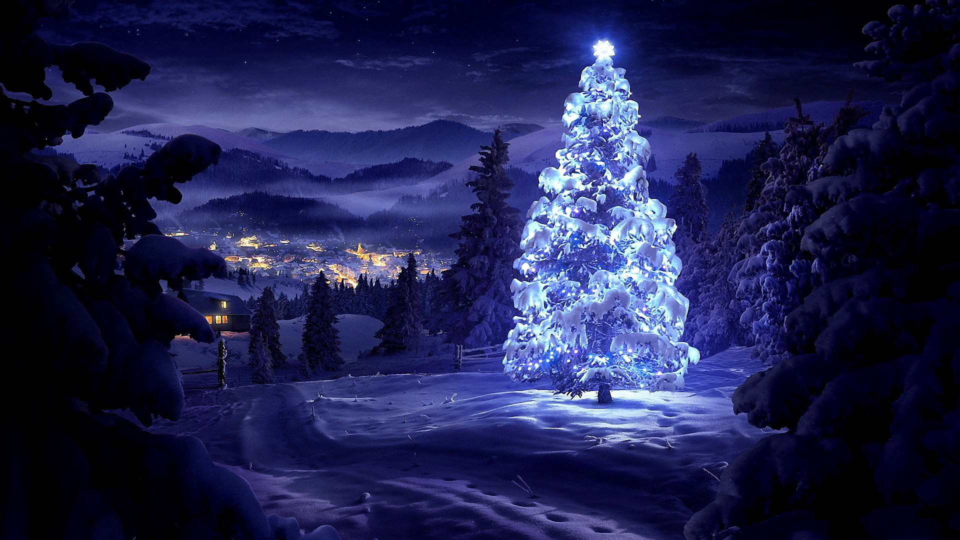 Christmas tree wallpaper To download backgrounds natural scenery 1920x1080