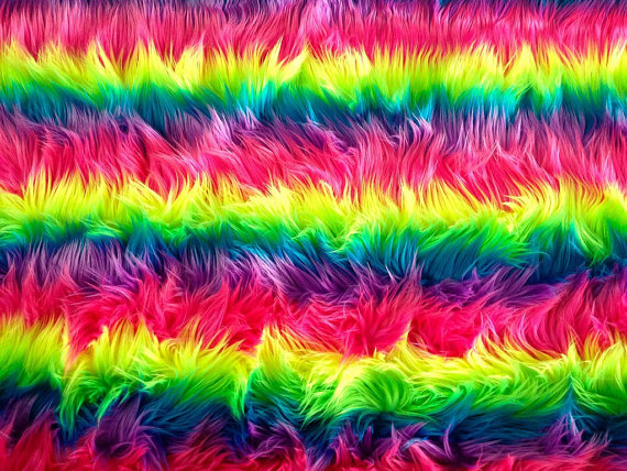 60 Wide Faux Fur Luxury Shag Multi Color Neon Rainbow Horizontal 570x428