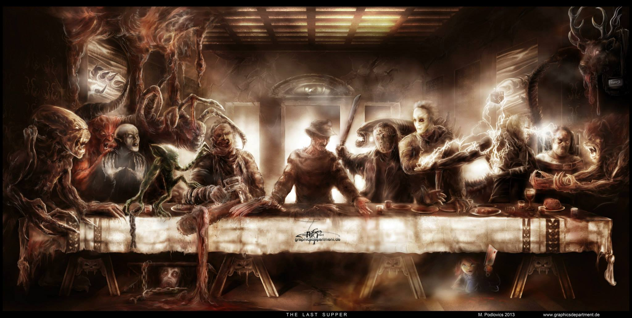 Mind Blowing Horror Icons Last Supper Poster   HorrorMoviesca 2048x1031
