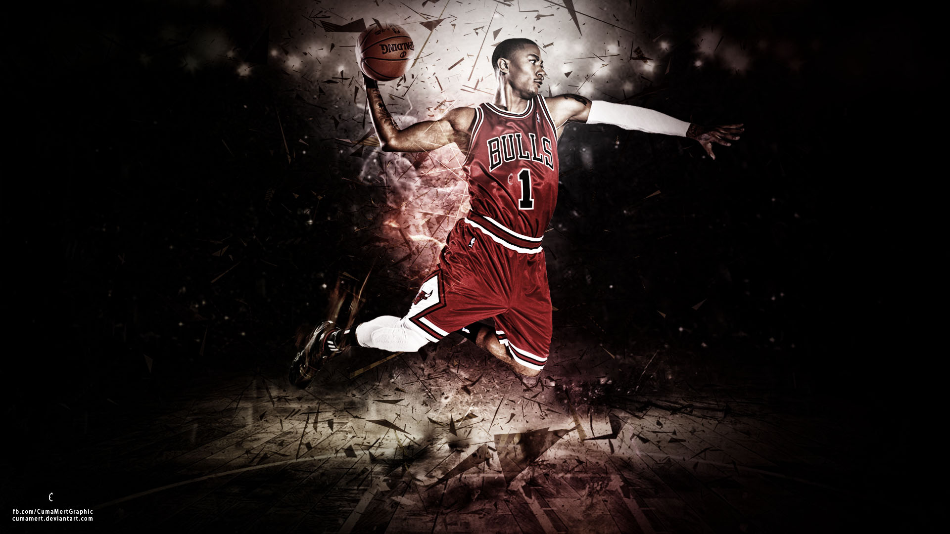 Derrick Rose Dunk On LeBron James   wallpaper 1920x1080