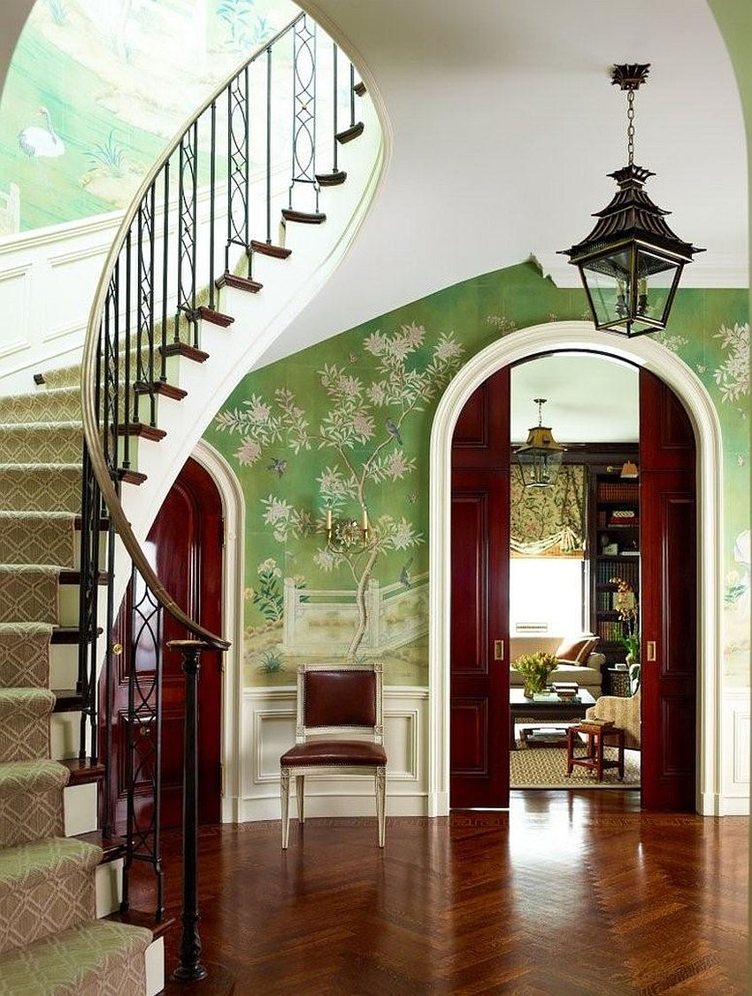 25 Gorgeous Entryways Clad in Wallpaper 850x1125
