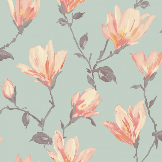 Home Shop By Style Floral Lotus Teal Coral Floral Wallpaper 540x540