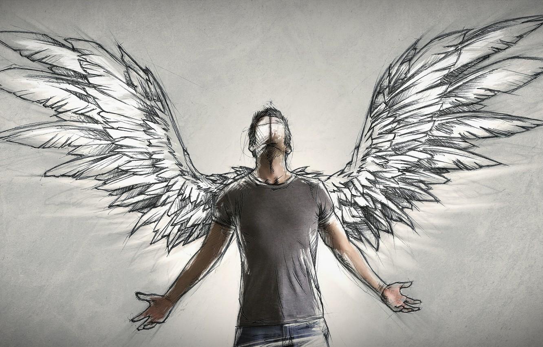 Wallpaper people wings angel author male Sketch Sebastien 1332x850