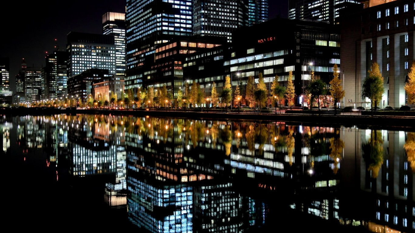 City lights reflection on the river at night Widescreen and Full HD 1366x768