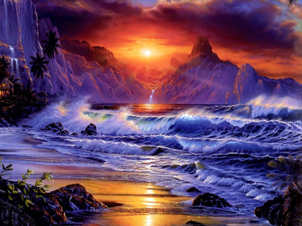 desktop wallpaper of amazing fantasy sunset computer desktop 1024x768