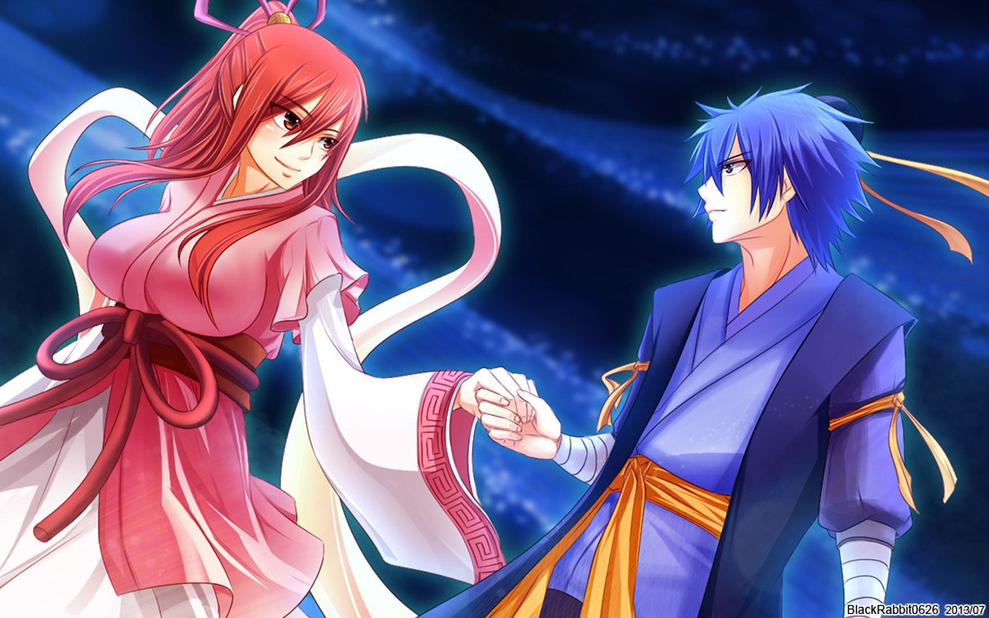 erza scarlet and jellal fernandes fairy tail anime hd wallpaper 1440x900