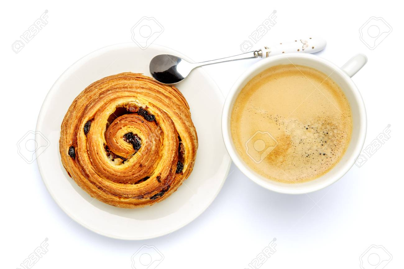 Studio Shot Of Fresh Cinnabon And Coffee Isolated On White 1300x866