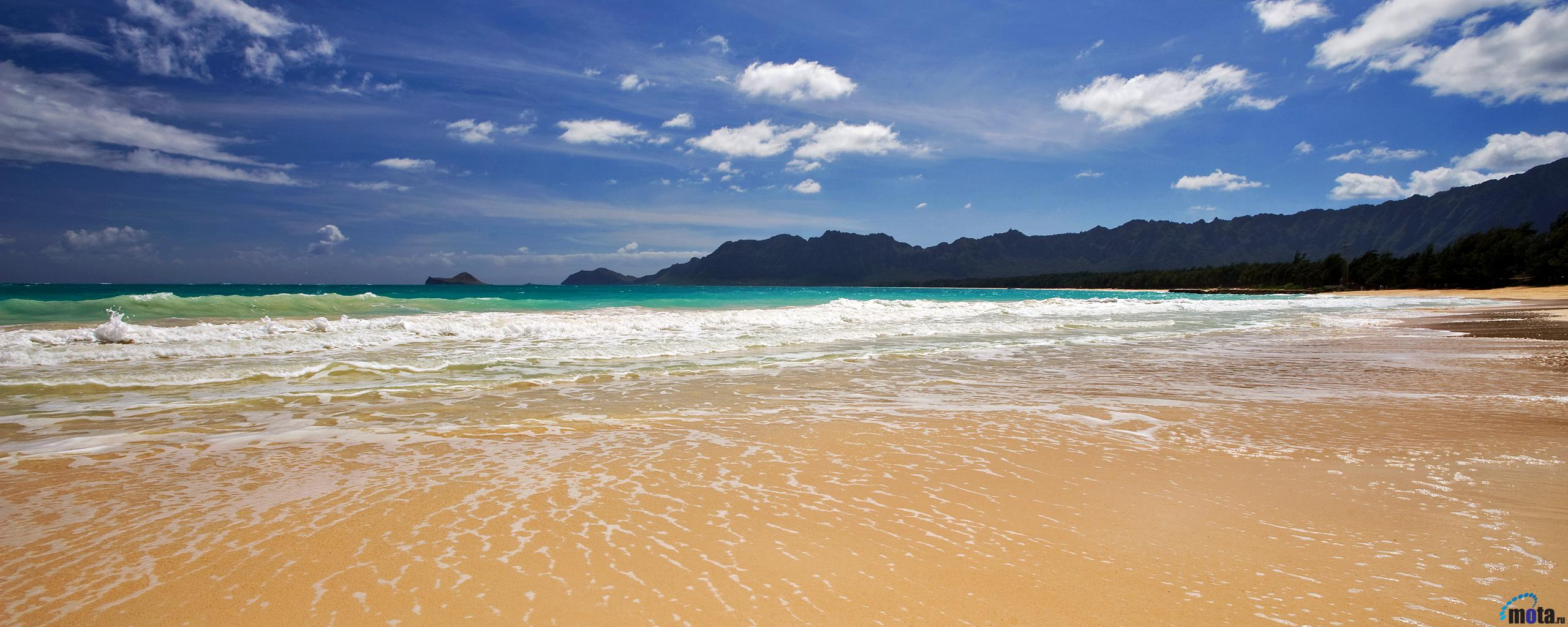 Download Wallpaper Bellows Beach Oahu Hawaii 2560 x 1024 Dual 2560x1024