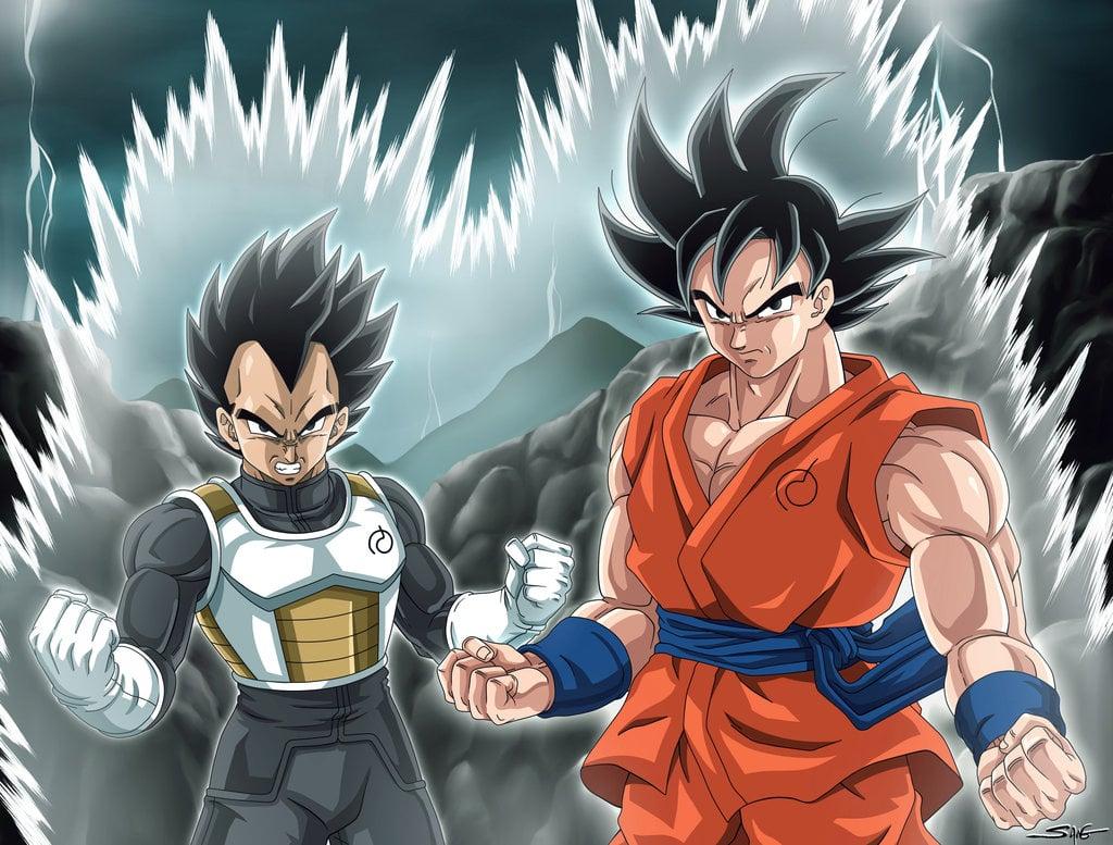 Goku and Vegeta   DBZ Fukkatsu no F by Sano BR 1024x777