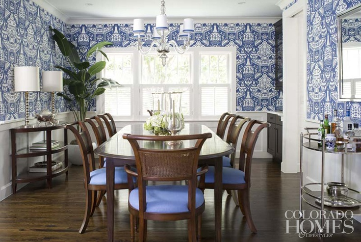 The large print dining room wallpaper by Clarence House is tempered 736x493
