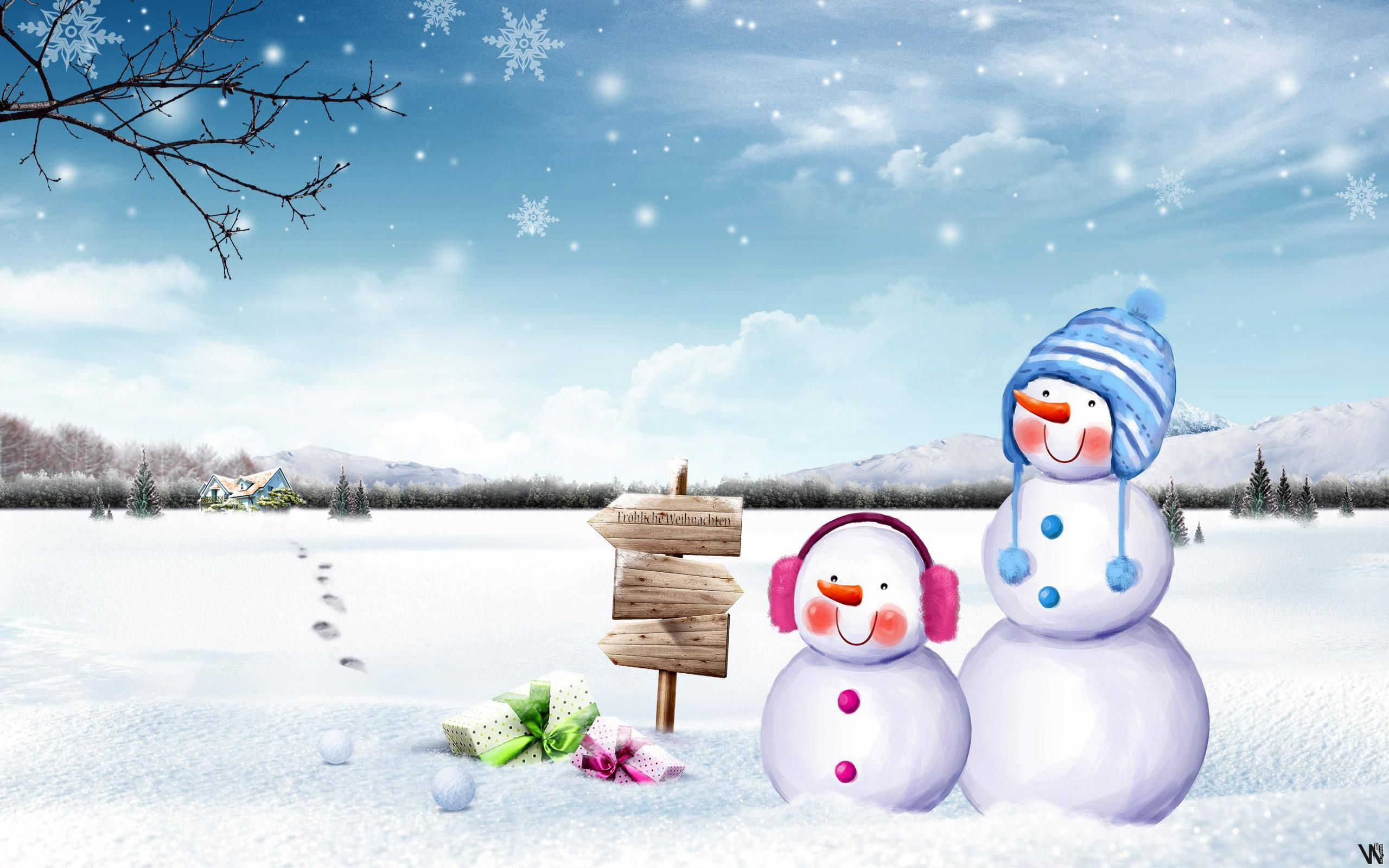 Cute Snowmen Hd Wallpaper Winter things Snowman wallpaper 2560x1600