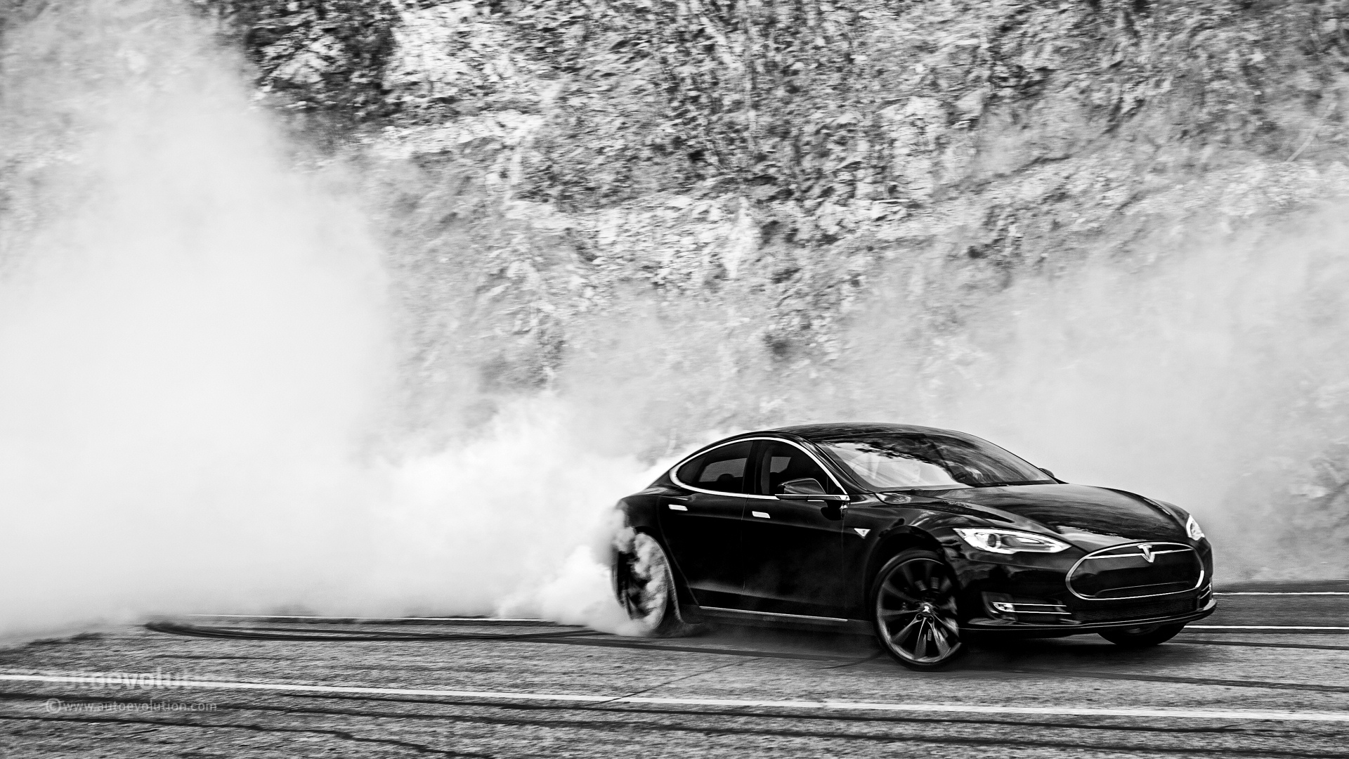 Tesla Model S Doing Monster Burnouts HD Wallpapers 1920x1080