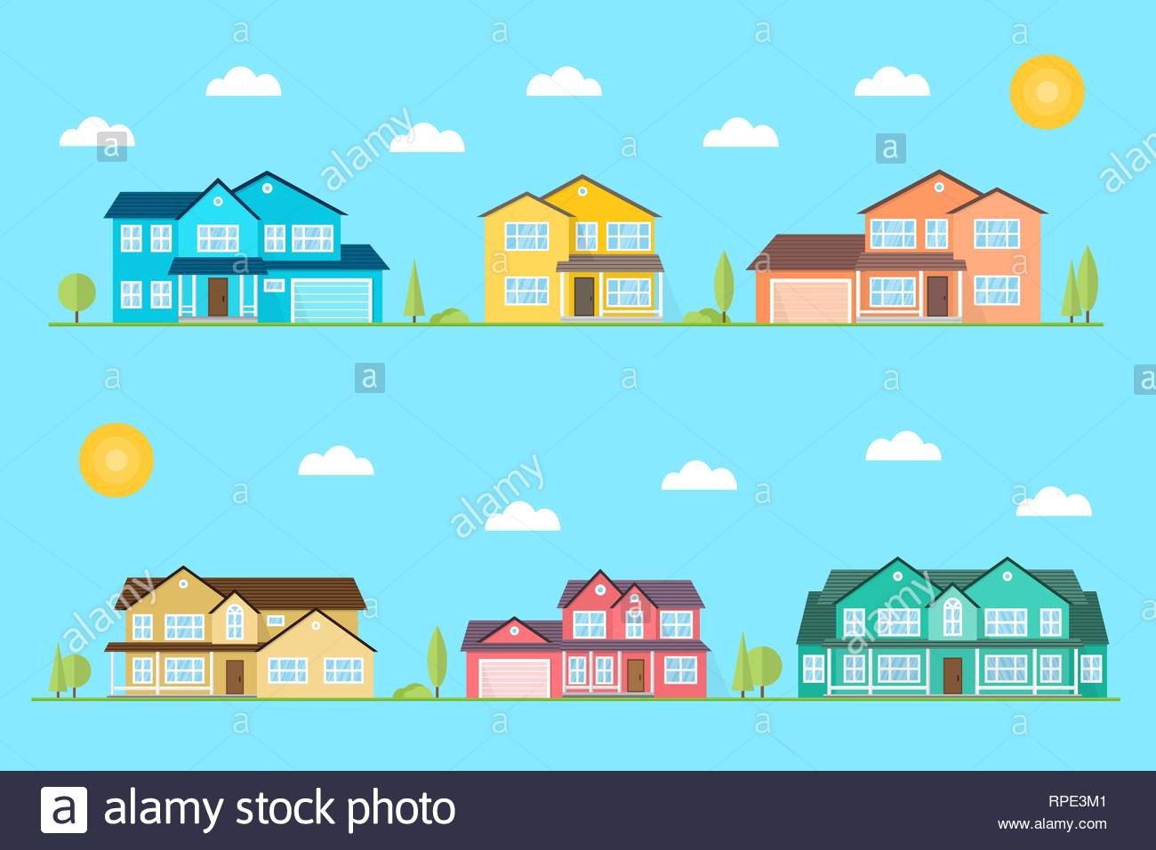 Neighborhood with homes illustrated on the blue background Vector 1300x956