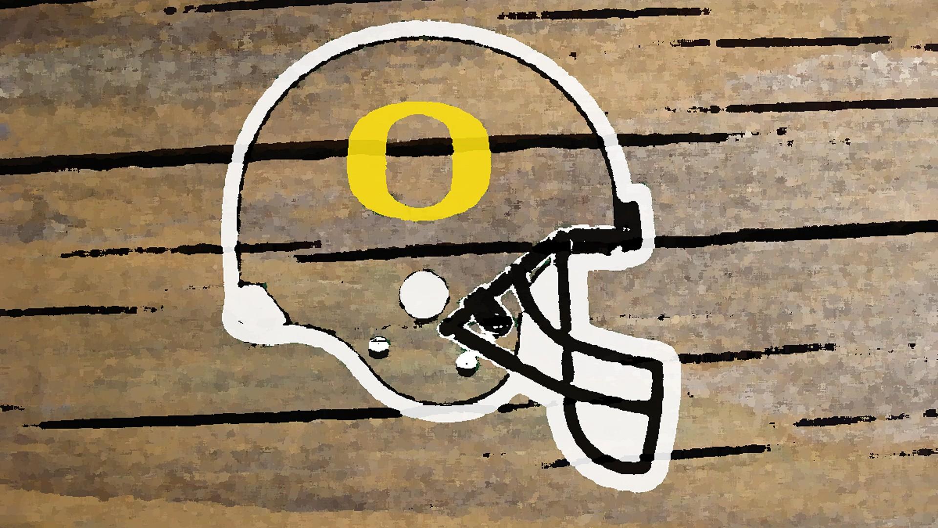oregon ducks helmet logo painted on wood 1920x1080