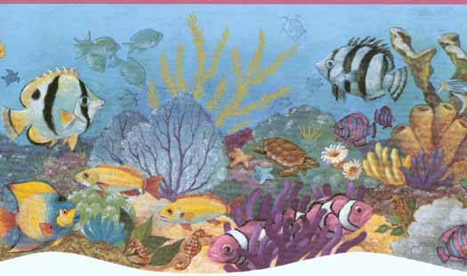 Sea Animals Border Pink Sea Life Wallpaper Border 525x310
