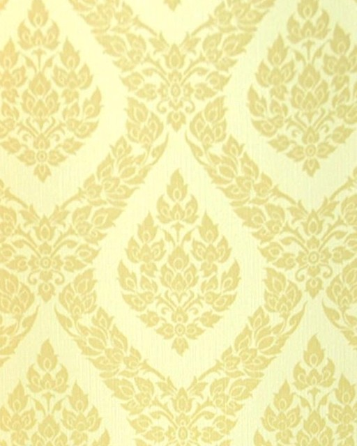 Thai Inspired Damask Pattern Textured Vinyl Wallpaper Yellow   Asian 512x640