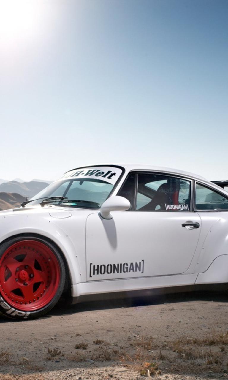 White porsche 911 rauh welt begriff hoonigan wallpaper 14400 768x1280