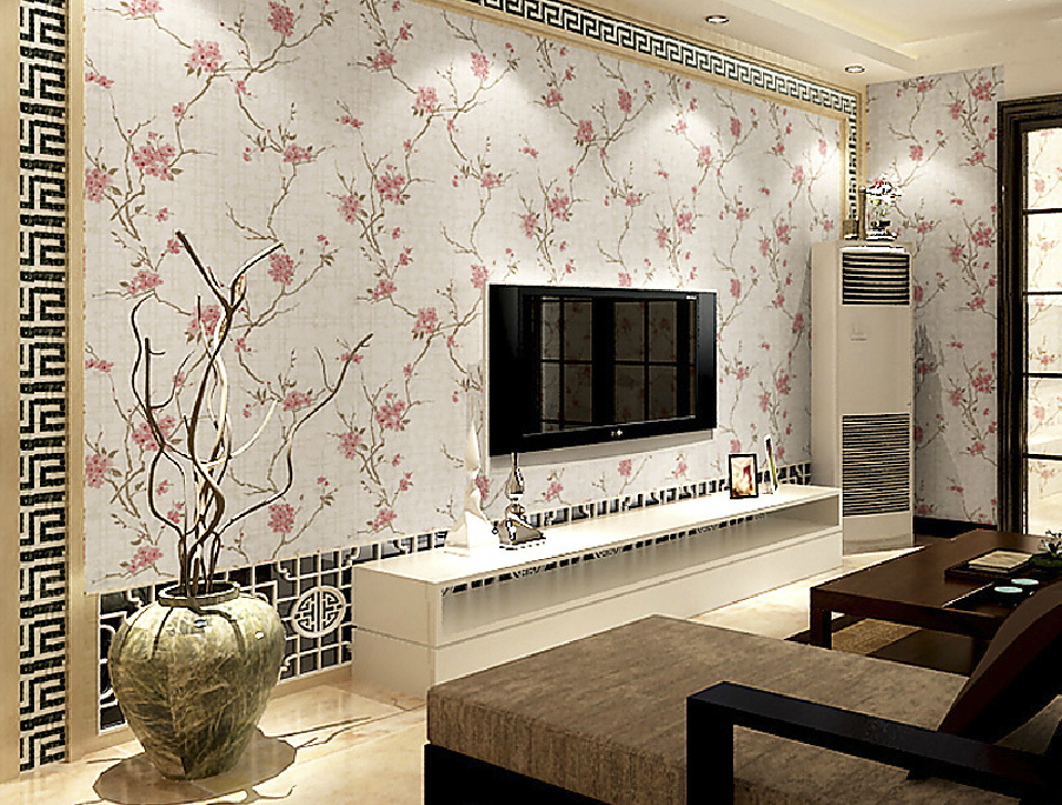 Chinese style wallpaper in living room TV background wall Download 959x727