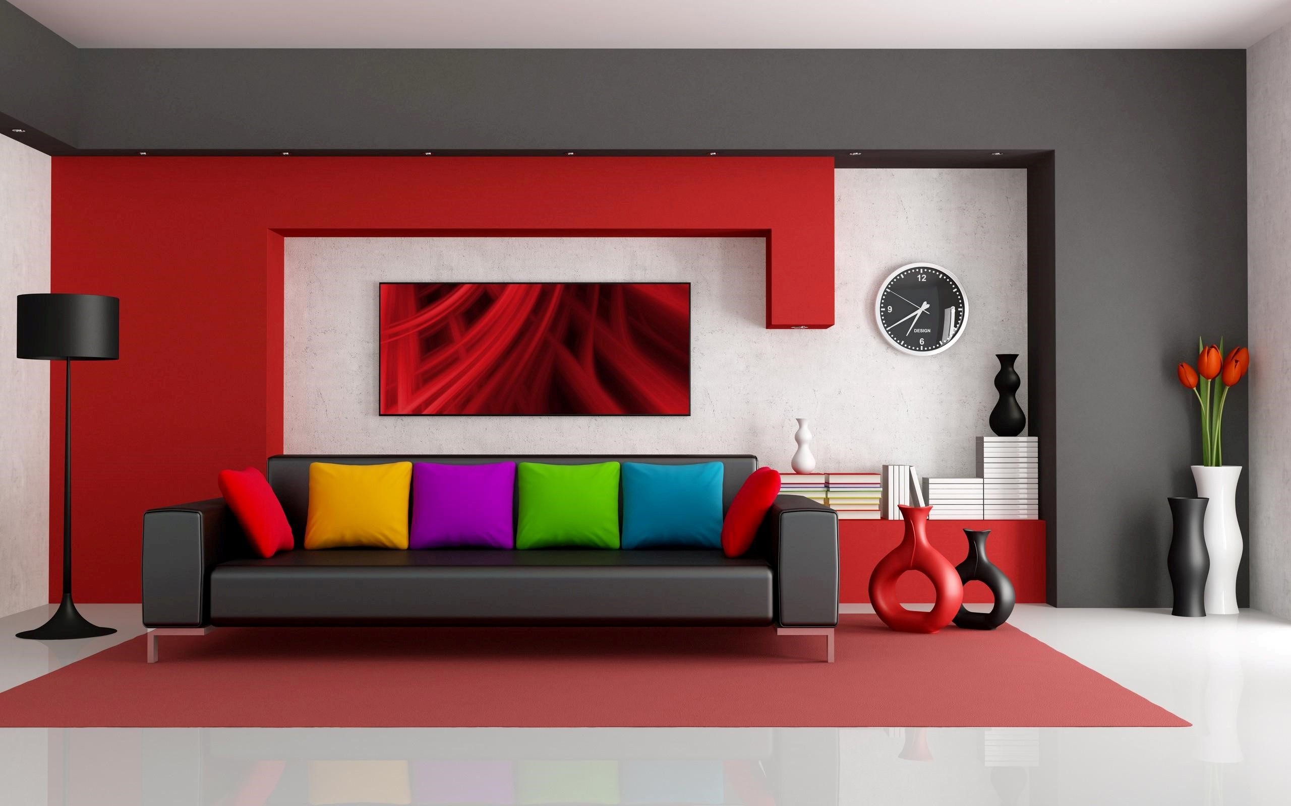 Amazing Home Interior wih Colorful Pillow HD Wallpapers 2560x1600
